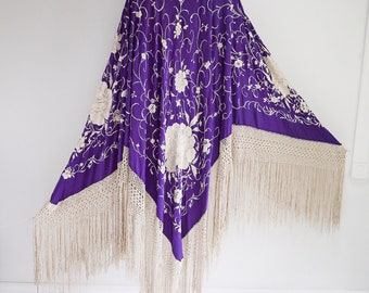 Royal Purple, Extra Large Hand Embroidered, Silk Piano Scarf