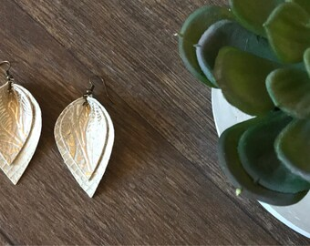 Matte Gold and Cream Layered Leather Pinched Petal Earrings