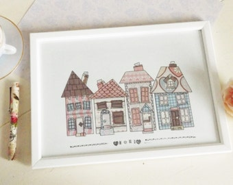 housewarming gift/house illustration/ A4 framed/wall art/Home decor/Mixed media/Pastel/fabric print/patterned paper/collage/Home Sweet Home