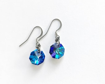 Gorgeous Vintage Blue/Turquoise/Purple AB Crystal Hand Crafted Drop Earrings