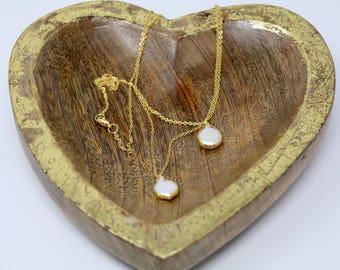 Bezel Set Baroque Pearl Pendant Delicate Chain Necklace