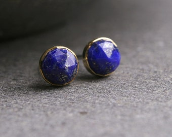 Bezel set rose cut Lapis Lazuli in 18k yellow gold stud post earrings