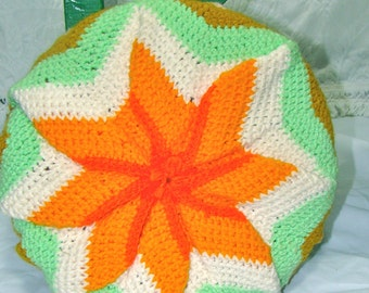 Vintage Throw Pillow. Crocheted Starburst. Accent Pillow. Vintage Handmade. Round Crochet Pillow. Reversible.