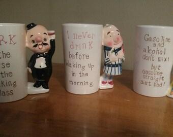 3 Vintage Ceramic Novelty Drinking Mugs Made in Japan