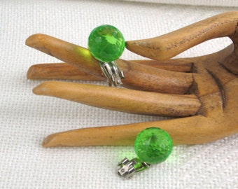 Clip Earrings Vintage Costume Jewelry Faceted Green Lucite Orbs