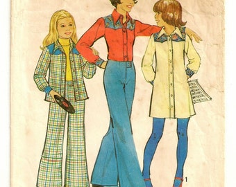 """A Front Button Long Sleeve Shirtdress and Shirt, and Wide Leg, No Waistband Pants Sewing Pattern: Girls Size 7, Breast 26"""" • Simplicity 6590"""