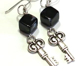 Key Charm Earrings - Black Square Glass Bead and Key Charm Fashion Earrings - Unlock my Heart