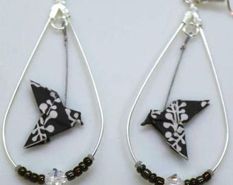 Origami birds black and white earrings Teardrop hoop earrings silver