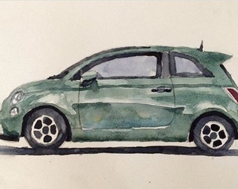 Fiat 500, car painting, car watercolor, child art