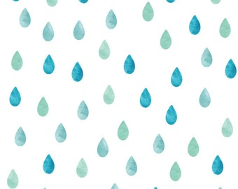 Raindrop Watercolor Wall Decals - Raindrop Fabric Wall Decals