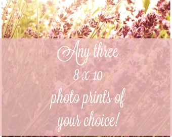 8 x 10 photo print deal select any three prints for 25 dollars off, photo print deal, tri-photo, discount, wedding gift, mother's day, gift