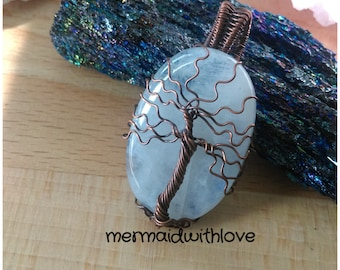 Icy Blue Moonstone Tree of Life in Antiqued Copper