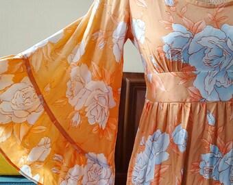 Peachy Blush Angel Flutter Sleeved Boho Maxi Dress