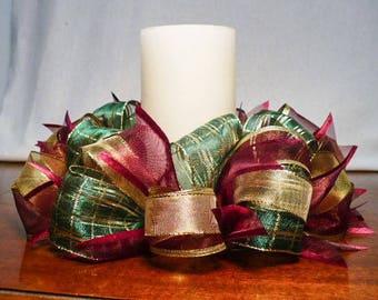 Ribbon candle ring, burgundy/green/gold ribbon candle ring