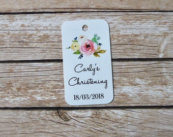 Set of 20+ Personalised Baptism, Christening Favour Tags - Religious Favor Tags, Cross Tags, Communion, Confirmation Name Day