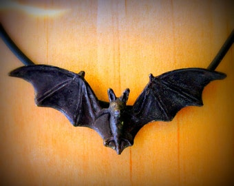 Black Flying Bat Necklace or Pendant in Sterling Silver, Perfect for Halloween Bat Jewelry Halloween Jewelry
