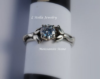 Ring Sterling Flower - Lily of the Valley gem in 4 or 6 prong setting White Sapphire,  Aquamarine,