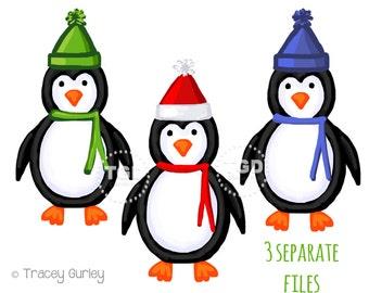 Penguin Clip Art, Christmas Clipart, Christmas digital clipart, penguin Clipart, holiday clipart, winter clipart, digital download, graphic
