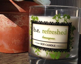 Lemongrass, Vegan Soy Candle, Essential Oils, Refreshing Handmade Boutique Candle