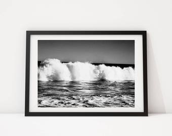 Black and White Photo, Black and White Wall Art, Printable, Printable Art, Instant Digital Download, Ocean Photo, Ocean Print, Wave Photo