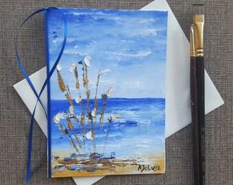 Beach art Beach painting Beach artwork Original oil painting Hand painted card Hand made card Art card Unique art Nautical art 5x7 card Art