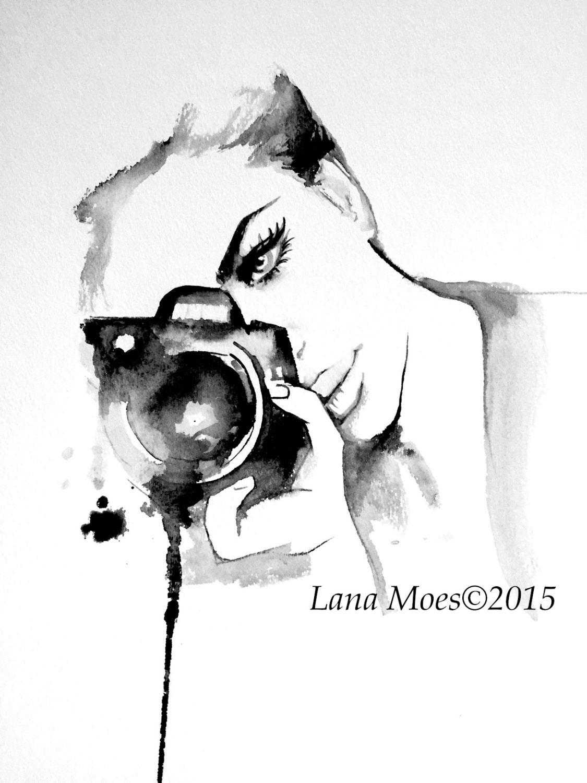 Kamera Mädchen Mode Aquarell-Malerei zeitgenössische moderne