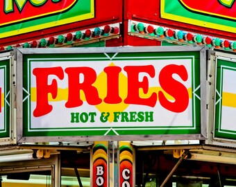 French Fries Neon Sign Food Vendor Fine Art Print- Carnival Art, County Fair, Nursery Decor, Home Decor, Children, Baby, Kids