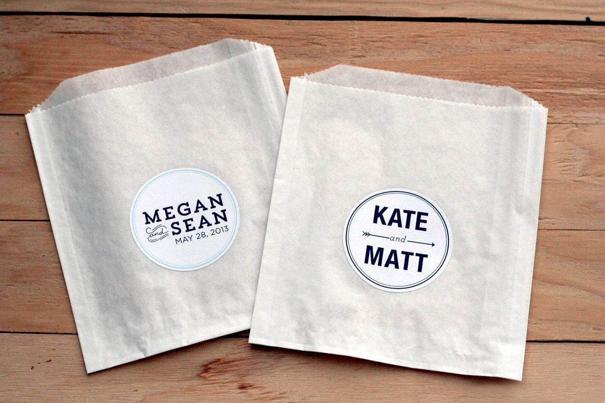 100 Custom Wedding Stickers / Favor Bags / Birthday Stickers /
