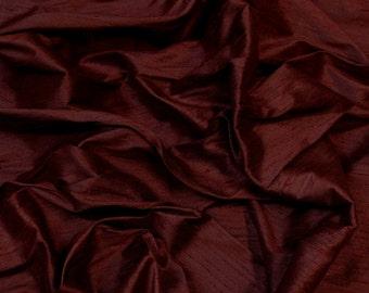 "Garnet Red Dupioni Silk, 100% Silk Fabric, 54"" Wide, By The Yard (S-243)"