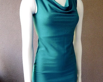 Sleeveless cowl top with slouchy neckline, teal or more colors