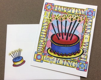 Birthday Card - Hand Lettering & Design by Ruth Pettis - Bright Cheerful - Blue, Red, Yellow