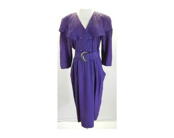 Vtg 1980's - vintage 80s dress - vintage purple - Belted - 8 - Secretary Dress - Union ILGWU