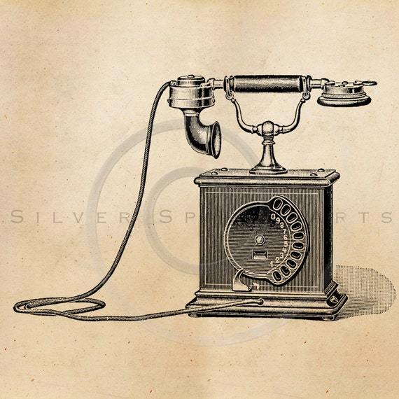 Vintage Telephone Illustration Printable 1800s Phones Antique Steampunk Print Instant Download Clip Art Retro Black And White Drawing ZS