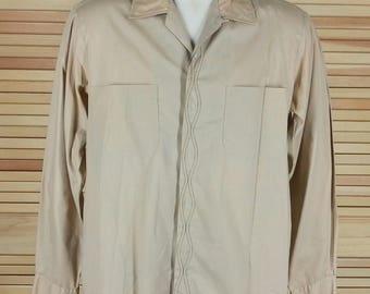 Vintage 60s dress shirt button & loop long sleeves button cuffs design front size M medium 15 15.5