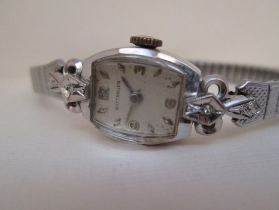 Vintage 1940s wittnauer 14k gold watch with 2 diamonds sciox Choice Image