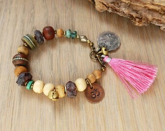 Om yoga bracelet, bohemian tassel bracelet, ethnic boho jewelry, tribal jewelry, hippie, gift for her