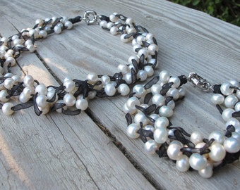 Bridal Pearl Jewelry Set Faux Pearl Necklace Bracelet Set Pearl Jewelry June Birthstone Jewelry