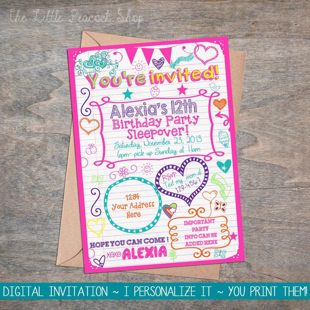 Tween Teen Birthday Printable Invitation Sleepover or Party