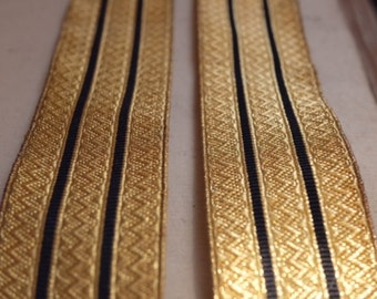 Antique metallic gold black striped military ribbon, couture, costume design jewellery flapper millinery