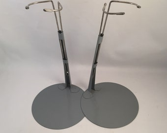"Set of 2 Vintage Metal Doll Stand by Kaiser Chicago, Adjustable 9"" to 14"" Tall, Vintage Metal Kaiser Doll Stands"