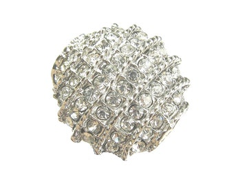 New Arrival - 5 Crystal Rhinestone Buttons for Wedding Decoration Invitation Card Scrapbooking Ring Pillow RB-128 (22.5mm or 0.9 inch)