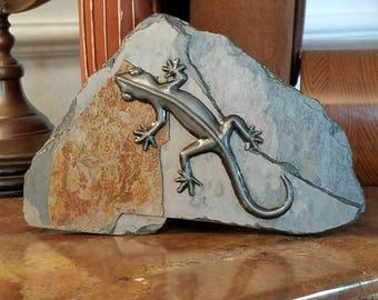 Pewter Gecko on Slate (b)