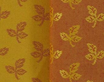 Large square pattern orange damask fabric leaves
