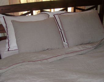 Linen Duvet Cover with a tuck ribbon and 2 pillow with a tuck ribbon/made from washed linen fabric/Cover and Pillow Clasp with buttons