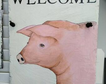 Handpainted pig slate