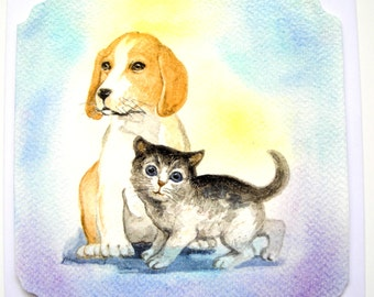 """Hand made card and matching envelope """"Small dog, little cat"""", collage, pastel and varnish."""