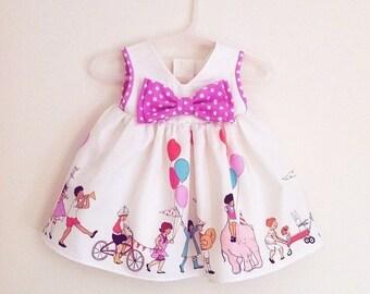 Baby Girl's Off White Party Dress, 1st Birthday Dress, Newborn Dress, Infant Dress, Children At Play Dress, Baby Gift