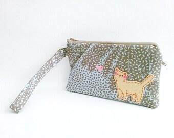 iPhone wristlet, wristlet wallet, cell phone wallet, wristlet bag, clutch purse, wristlet pouch, cat wristlet, beige, gray