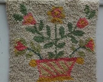 Handhooked wallhanging, textile art, Basket of flowers, Folk art, rag rug, fibreart, upcycled art