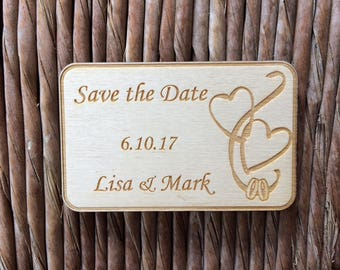 Wooden Save the Date magnet F, personalized